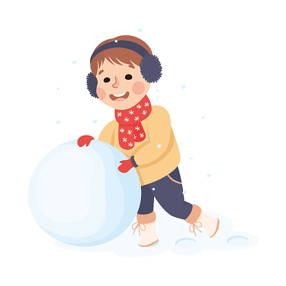 Cheerful Boy Wearing Warm Scarf and Earmuffs Pushing Snowball for Building Snowman Vector Illustration
