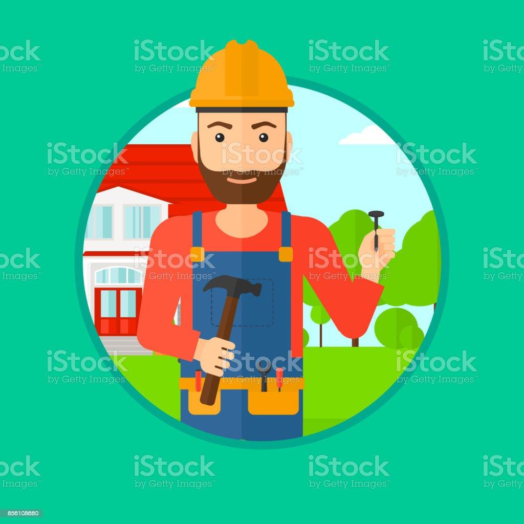 Construtor alegre com martelo - ilustração de arte em vetor