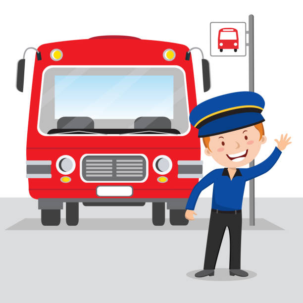 Cheerful bus driver vector art illustration
