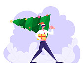 Cheerful Business Man Wearing Formal Suit and Santa Claus Hat Holding Gift Carry Christmas Tree on Corporate Party. Happy New Year and Xmas Holiday Celebration Concept Cartoon Flat Vector Illustration