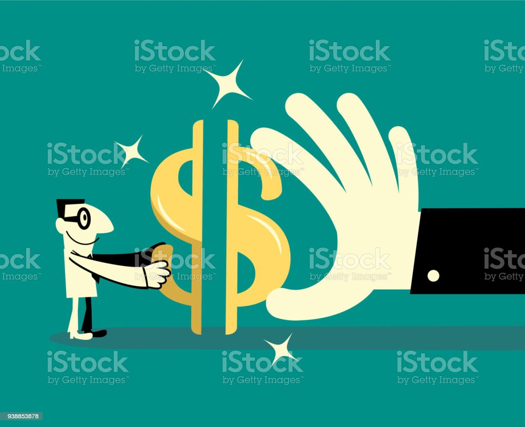 Cheerful Businessman cooperates with a big hand to complete a dollar currency sign jigsaw puzzle vector art illustration