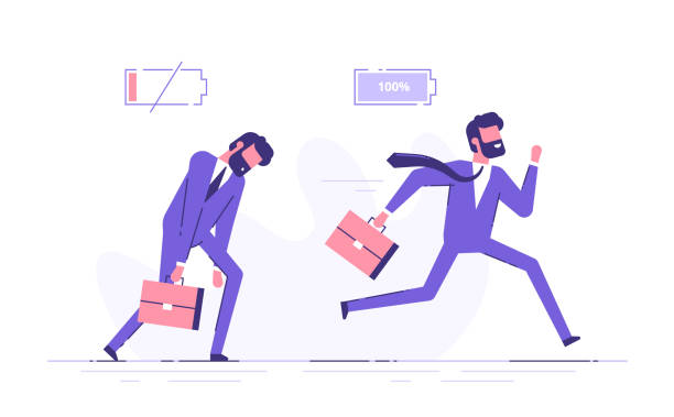 illustrazioni stock, clip art, cartoni animati e icone di tendenza di cheerful businessman running with full of energy battery icon and tired businessman slowly walking with low energy battery icon. business concept. flat vector illustration. - uomo stanco