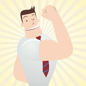 Vector illustration – Cheerful Businessman, Teacher, Gesturing No Problem! (showing biceps).