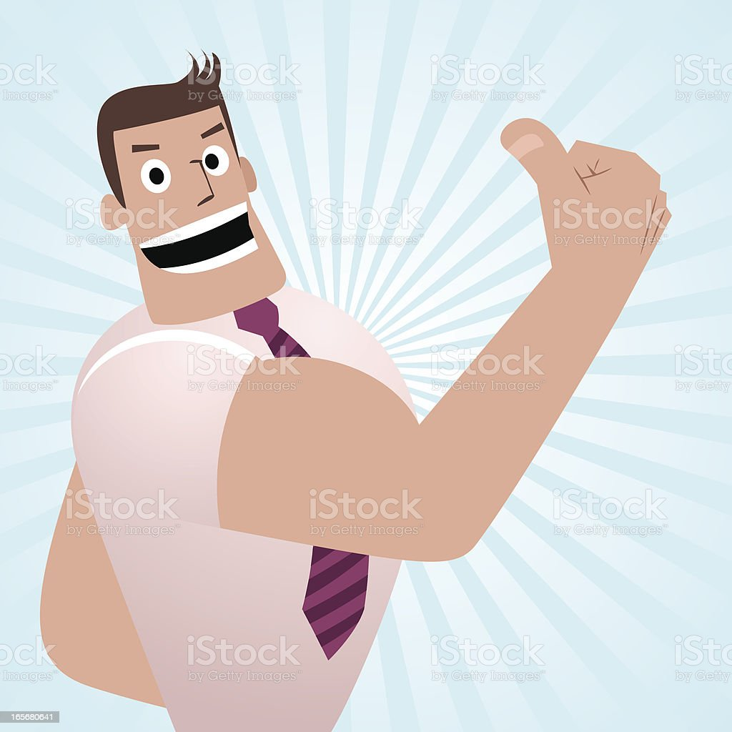Cheerful Businessman, Teacher, Gesturing Thumbs Up vector art illustration