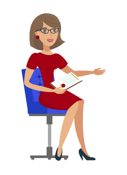 fröhliche geschäftsfrau flat vector illustration - rechtsassistent stock-grafiken, -clipart, -cartoons und -symbole