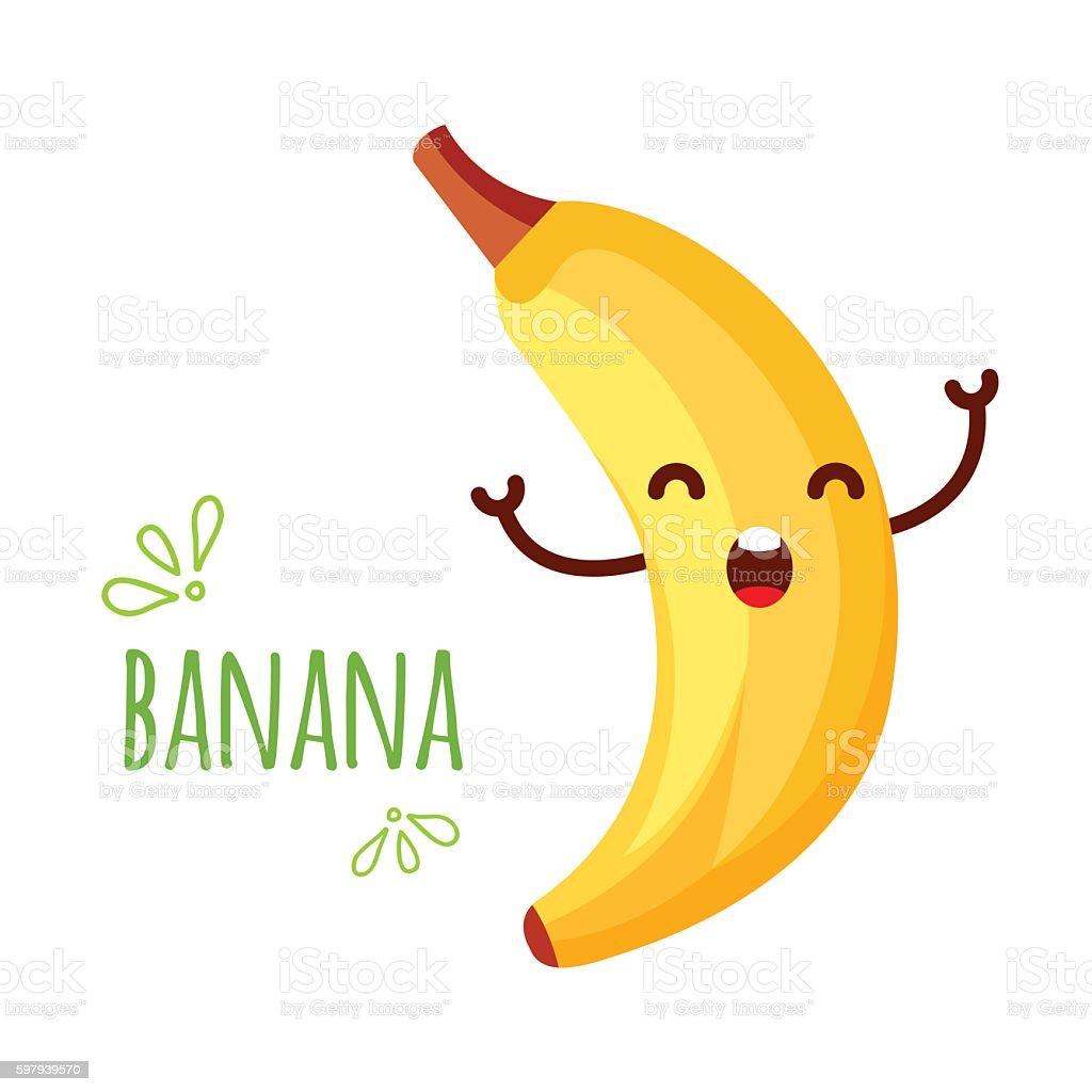 Cheerful Cartoon banana raising his hands ilustração de cheerful cartoon banana raising his hands e mais banco de imagens de adulto royalty-free