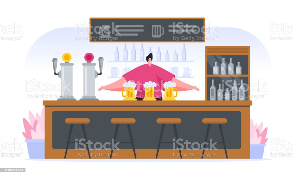 Cheerful cartoon bartender at counter in pub - Grafika wektorowa royalty-free (Alkohol - napój)