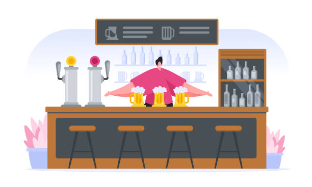 cheerful cartoon bartender at counter in pub - small business saturday stock illustrations