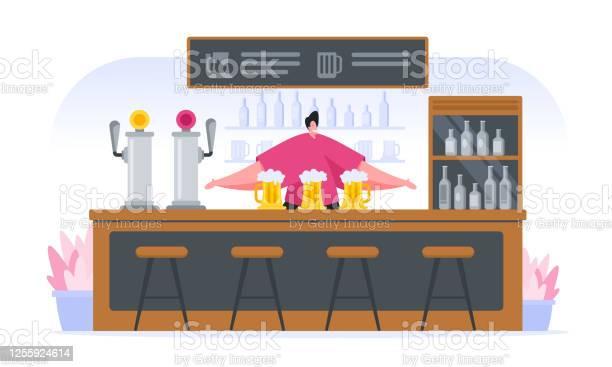 Cheerful Cartoon Bartender At Counter In Pub - Stockowe grafiki wektorowe i więcej obrazów Alkohol - napój