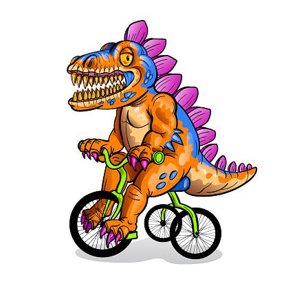 Cheerful cartoon dinosaur