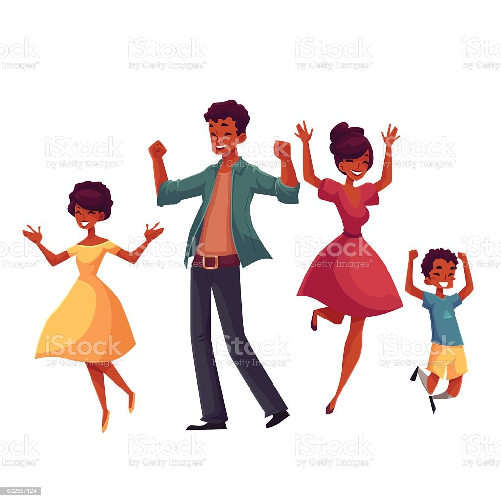 Cheerful cartoon style family jumping from happiness vector art illustration
