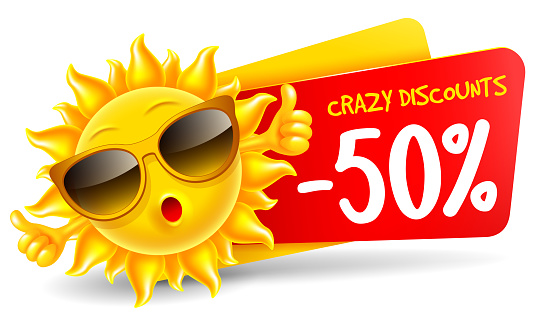 Cheerful Cartoon Sun Character Which Announce Summer Sale