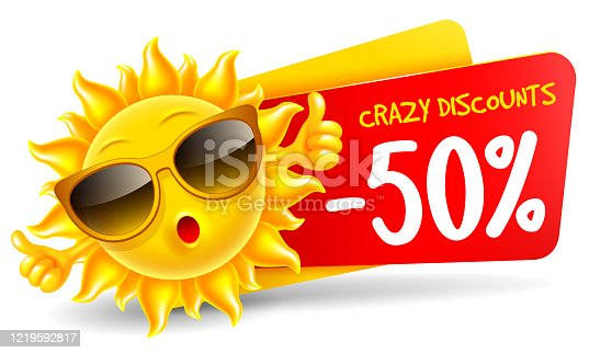 Cheerful sun character in sunglasses announce crazy summer sale and discounts. Showing thumbs up, in front of sale banner, isolated on white. Bright cartoon element for advertising design. Vector.