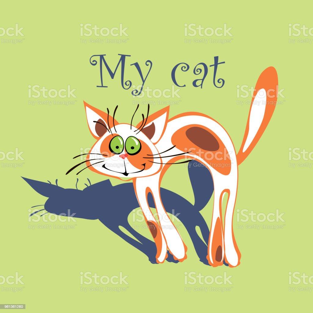Cheerful Cat With Red Spots On The Fur Cartoonish My Cat