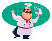 vector illustration of cheerful chef spinning disk of food and giving thumbs up