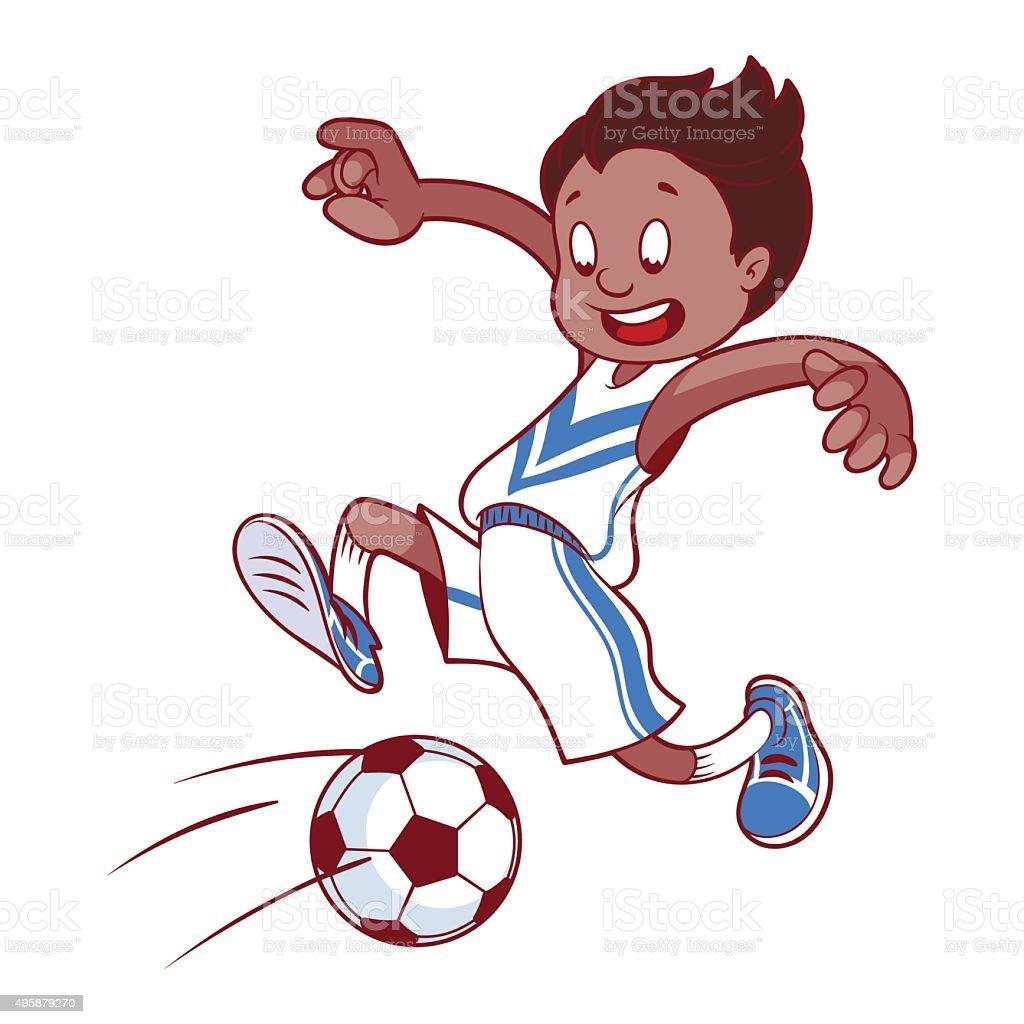 Frohliche Kinder Spielen Fussball Cartoon Vektorillustration
