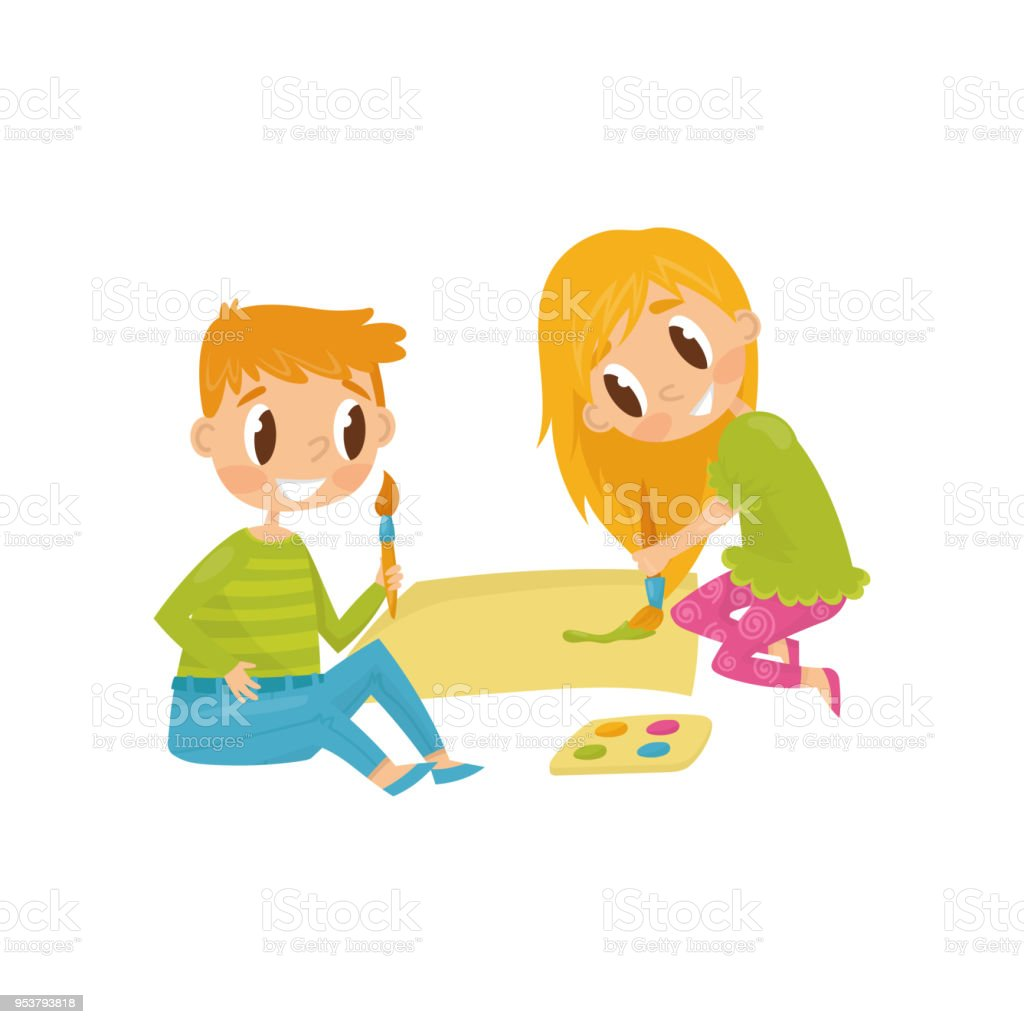 Cheerful Children Drawing Picture Tools For Painting Paper Brushes ...