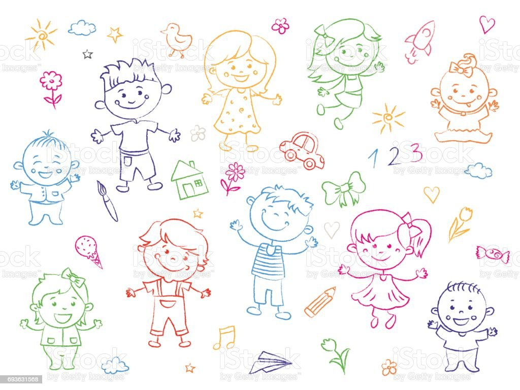 Cheerful Children Standing Together Drawings Paintings Girls And