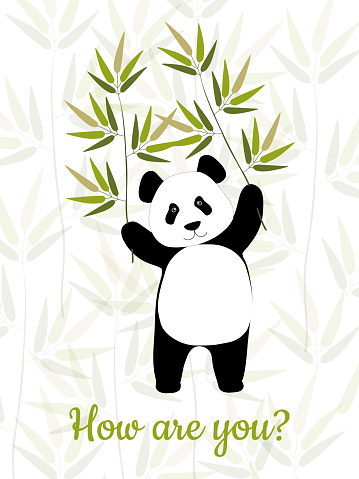 A cheerful Chinese beautiful panda holds bamboo branches in its paws. Cute bear for fashion prints on cups, pillows, clothes. Vector graphics.