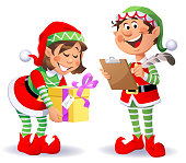 Vector illustration of two cheerful Christmas elves wearing santa hats and pantyhoses. A boy with a clipboard and a feather, taking notes, and a girl carrying a christmas present.