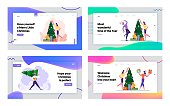 Cheerful Colleagues Celebrate Xmas Party in Office Website Landing Page Set. Happy People Having Fun. Joyful Managers Dance and Decorate Christmas Tree Web Page Banner Cartoon Flat Vector Illustration