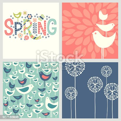 Retro Spring designs includes seamless bird pattern, allium flowers and doodle lettering. Cheerful coordinating elements for banners, cards, backgrounds and decor.