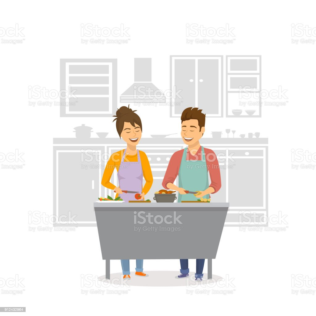 couple gai, cuisine dinatoire, prepearing aliments ensemble à la maison - Illustration vectorielle