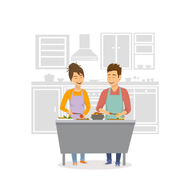 cheerful couple cooking dinner, prepearing food together at home - family dinner stock illustrations, clip art, cartoons, & icons