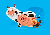 vector illustration of cheerful cow pig hen