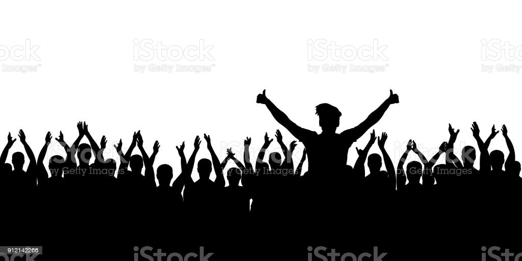 Cheerful crowd cheering. Hands up. Applause people. Silhouette vector vector art illustration