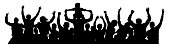 Cheerful crowd people silhouette. Child sits on the neck of a man. Applause people hands up. Vector Illustration party celebrating