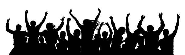 stockillustraties, clipart, cartoons en iconen met vrolijke menigte mensen. staan alleen, aparte groep van mensen. silhouet feest vieren. applaus mensen handen omhoog. vectorillustratie - cheering