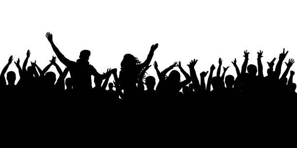 陽気な群衆のシルエットの背景。パーティーピープル、拍手を送る。ファン ダンス コンサート、ディスコ。 - 観客点のイラスト素材/クリップアート素材/マンガ素材/アイコン素材