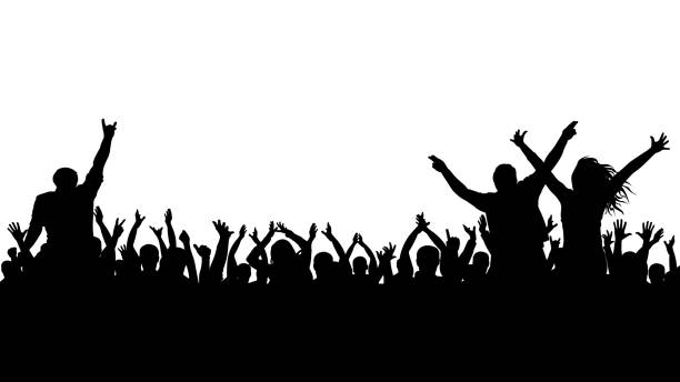 Cheerful crowd silhouette. Party people, applaud. Fans dance concert, disco. vector art illustration