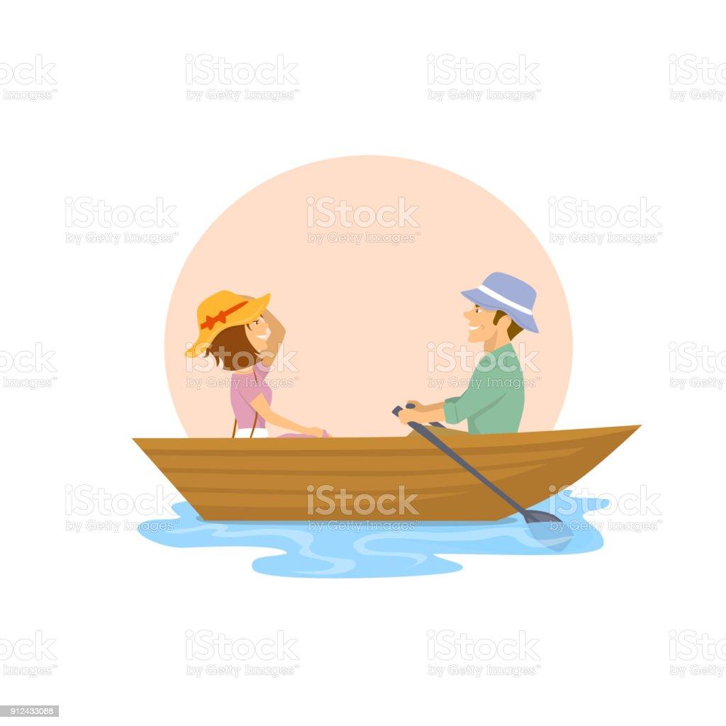 couple mignon joyeux, avoir un voyage romantique sur un bateau à rames - Illustration vectorielle