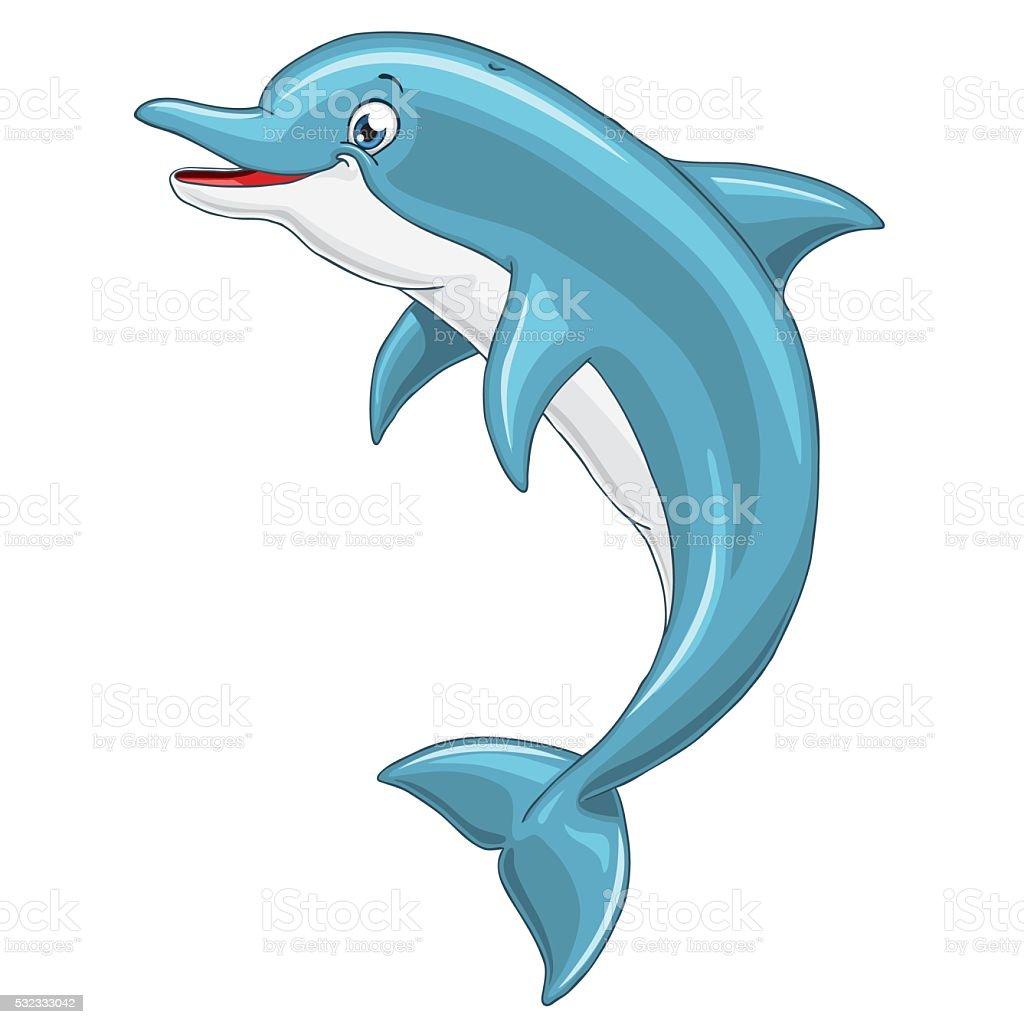 Веселый симпатичный Дельфин на белом фоне векторная иллюстрация