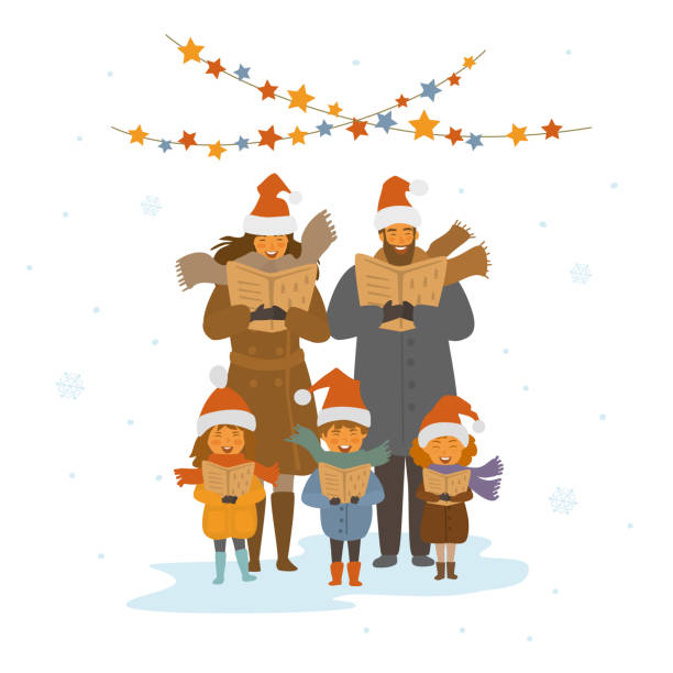 cheerful cute family, adults and kids singing christmas songs carols, isolated vector illustration scene cheerful cute family, adults and kids singing christmas songs carols, isolated vector illustration scene christmas family stock illustrations