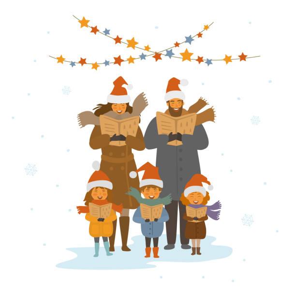 ilustrações de stock, clip art, desenhos animados e ícones de cheerful cute family, adults and kids singing christmas songs carols, isolated vector illustration scene - family christmas