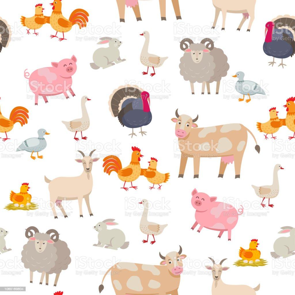 Cheerful Cute Farm Animals Seamless Pattern Domestic ...
