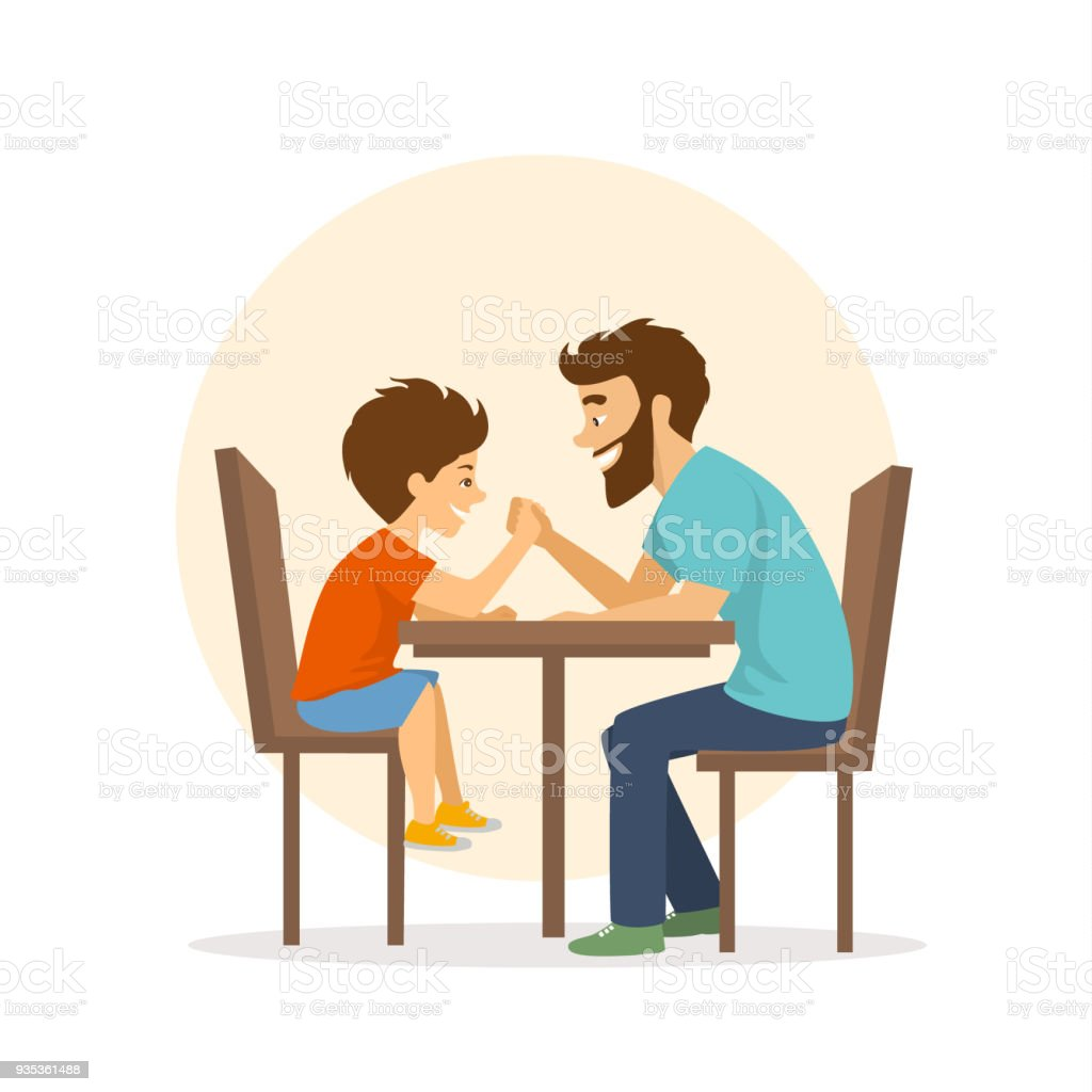 cheerful cute father and son arm wrestling, having fun together vector art illustration