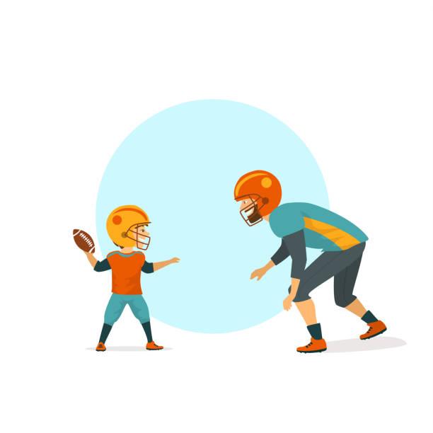 illustrations, cliparts, dessins animés et icônes de joyeux mignon père et fils jouant illustration vectorielle football américain isolé - modèles de bande dessinée