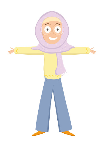 Cheerful cute Muslim girl in scarf wearing eyeglasses with a friendly face standing with arms spread wide ready to hug. Cartoon style child avatar flat vector character design illustration isolated on white background.