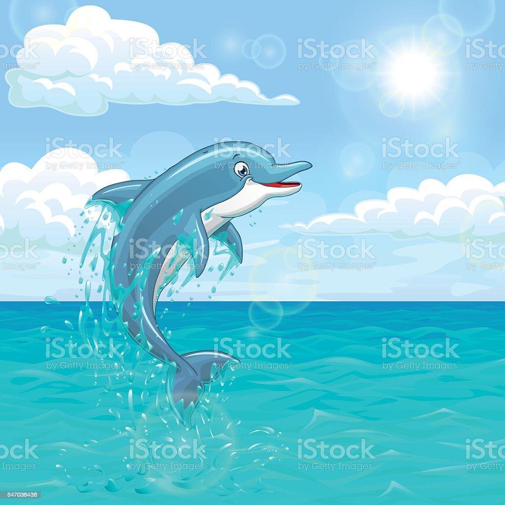 Cheerful dolphin in summer sea векторная иллюстрация