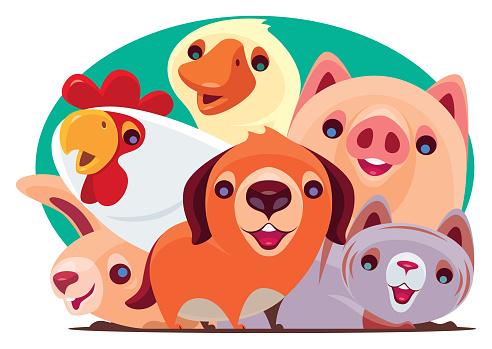 cheerful domestic animals gathering