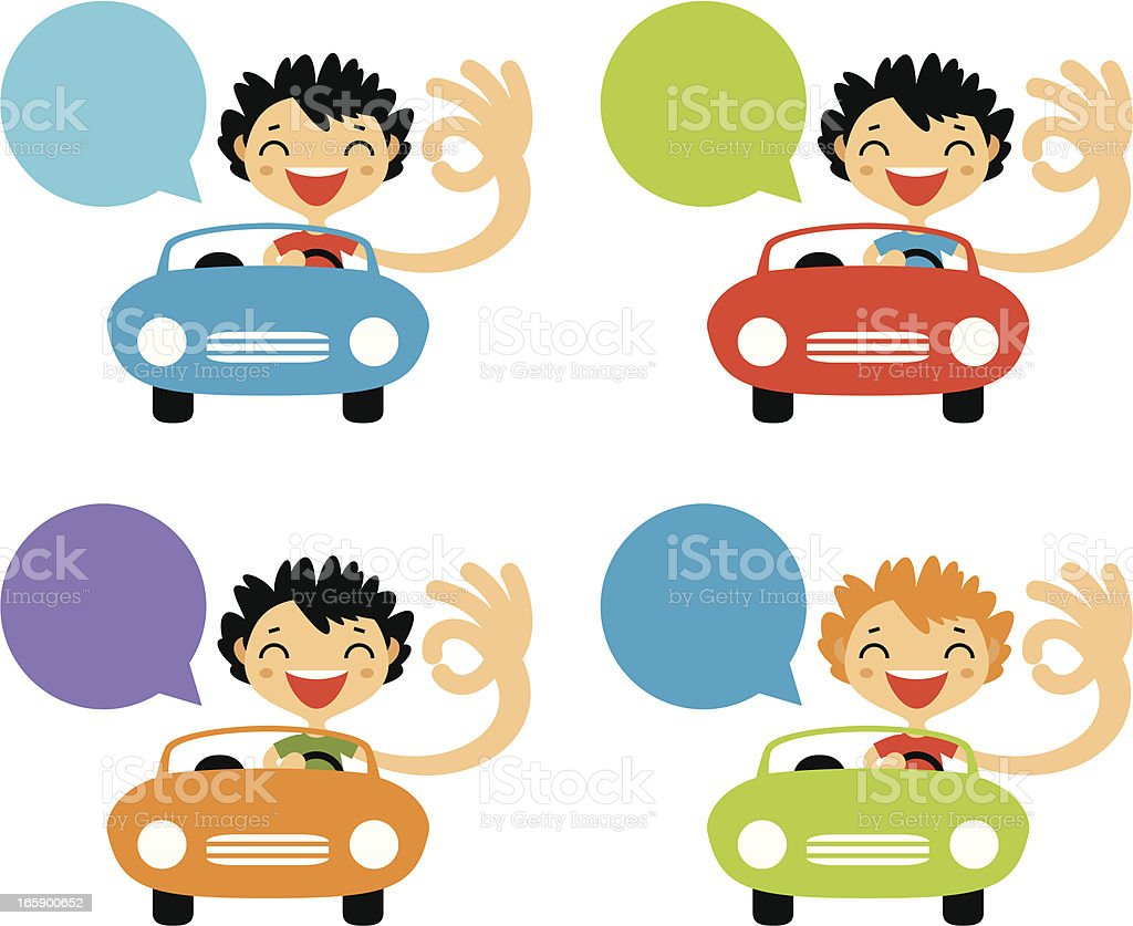 Cheerful drivers royalty-free stock vector art