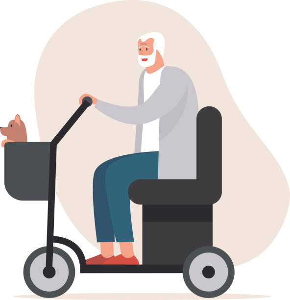 cheerful elderly senior man driving electric mobility scooter. Old disabled man on power wheelchair strolling with his dog in a basket. vector art illustration