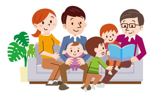 陽気な家族家でソファーに座ってください。 - 家族 日本人点のイラスト素材/クリップアート素材/マンガ素材/アイコン素材