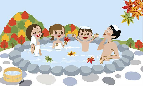 bildbanksillustrationer, clip art samt tecknat material och ikoner med cheerful family enjoying japanese hot spring in autumn - japanese bath woman