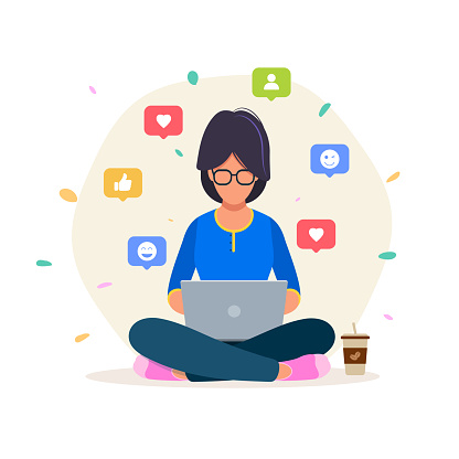 Cheerful female enjoying time on Social Media, Blogger, creative people, social network, background