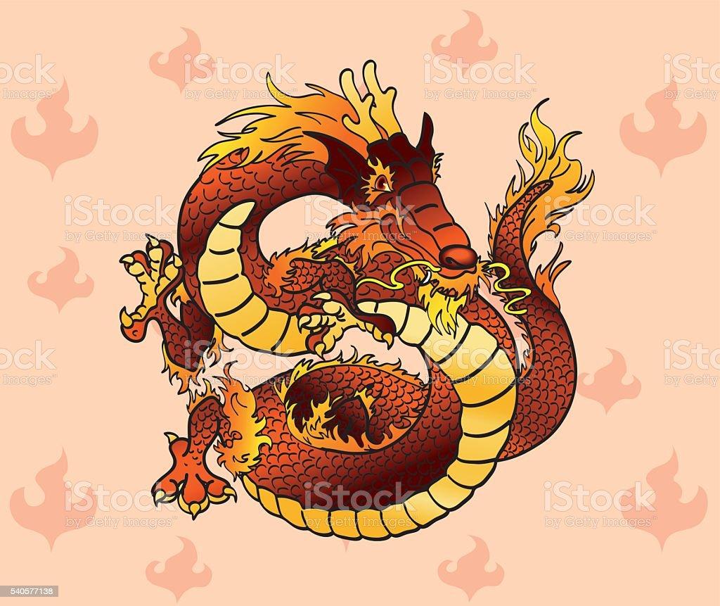 Яркая красочные Китайский Дракон на пламя векторная иллюстрация